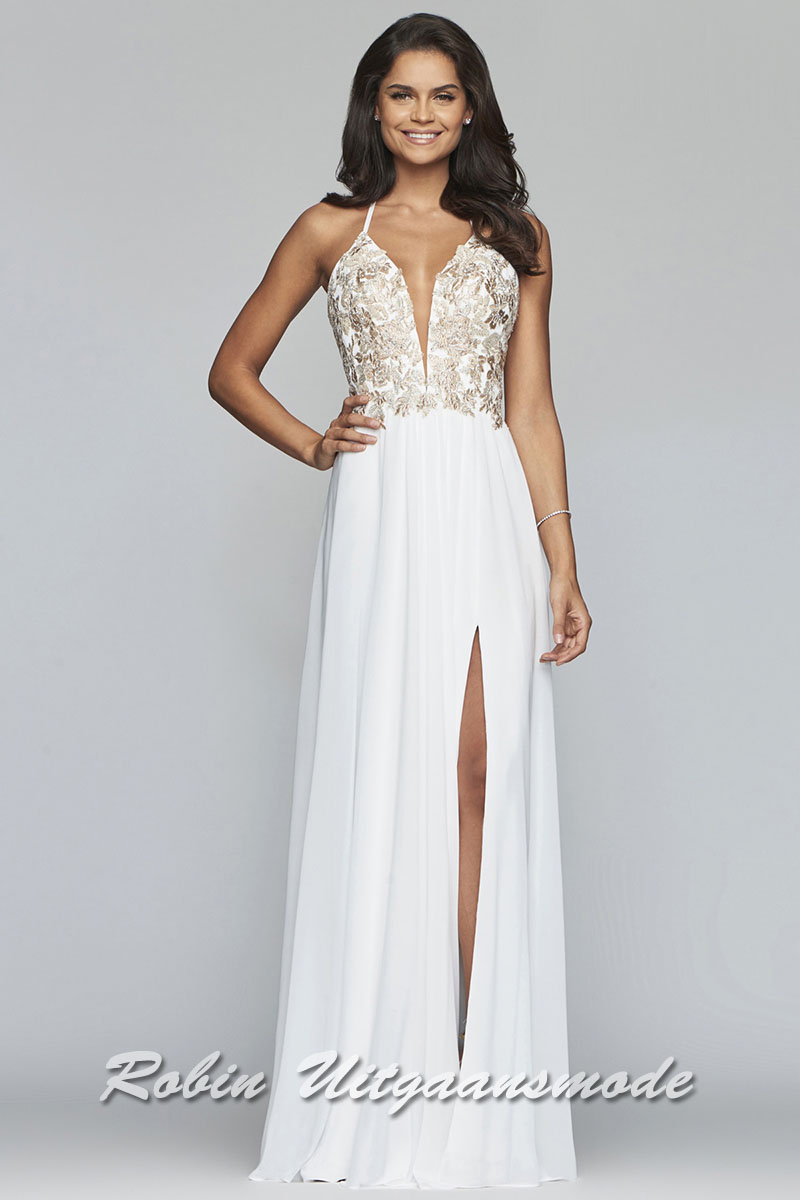 9bbb61476a71 Captivating prom dress with an illusion deep v neckline and thigh high  slit. The bodice
