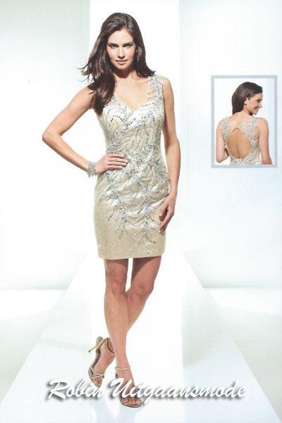 83c704ba0795e5 Elegante korte glitterjurken in het goud met open rug