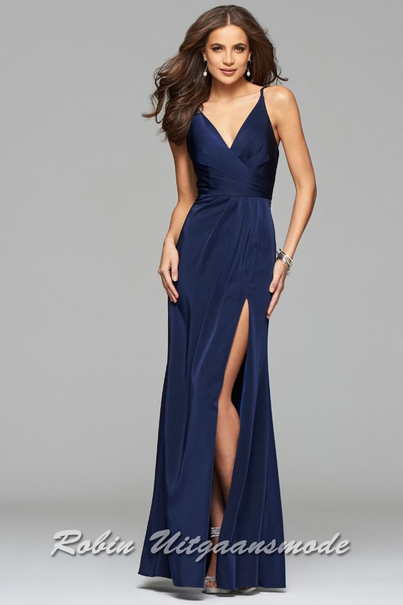 e742dbf790a Navy blue long prom dress with draped front