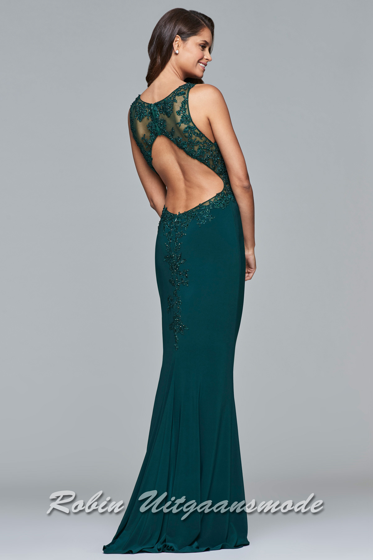 484289f1a09daf Long V-neck dress with lace applique covers the neckline and sides