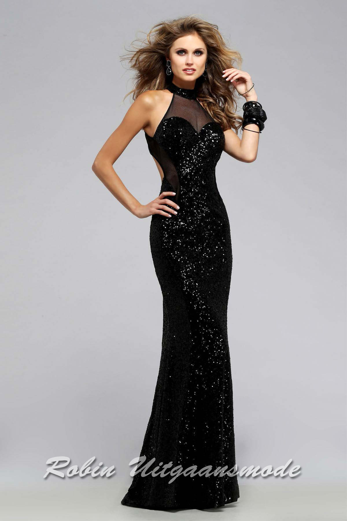 720624452a6 Black prom dress with low back and sweetheart illusion halter neckline