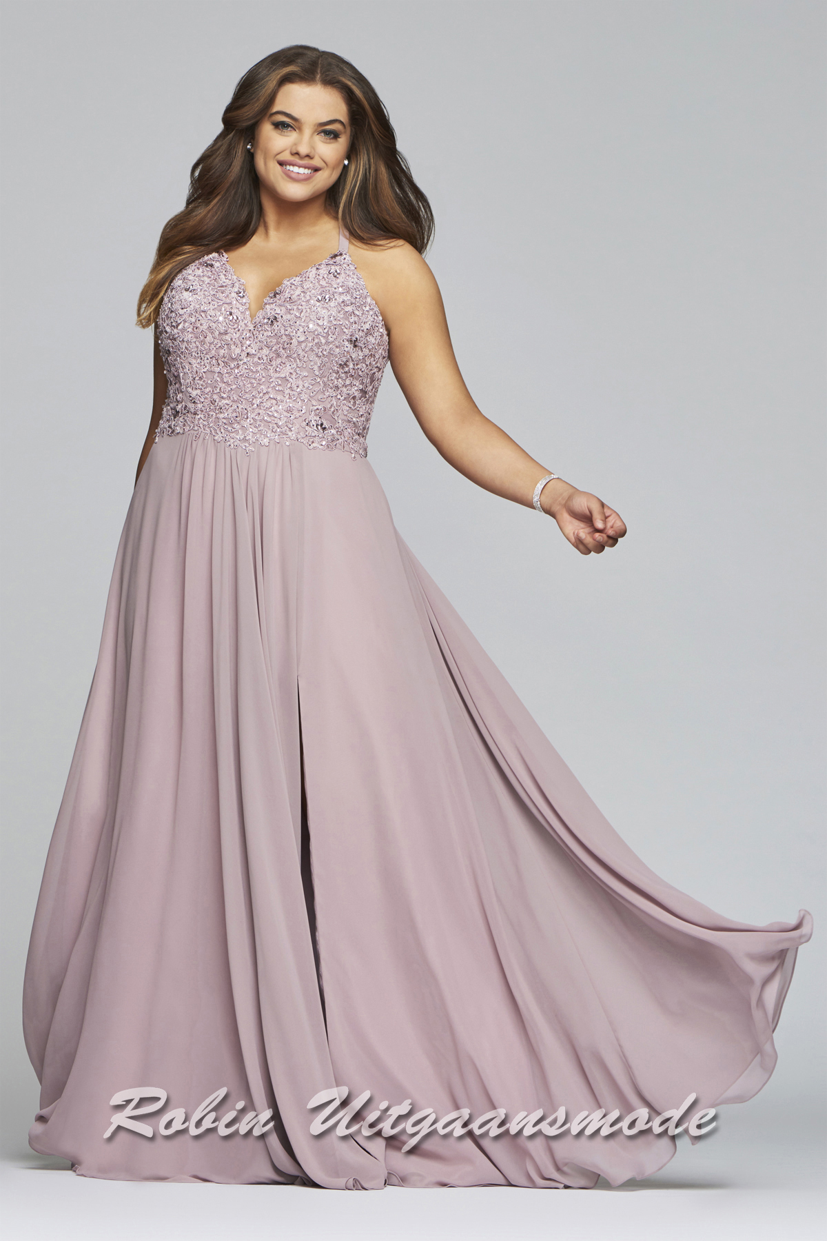 176bb2764cdf Prom dresses in large sizes with lace bodice and chiffon skirt in mauve |  modelnr g