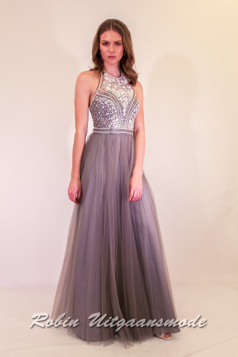 bb6556f3e28 Silver grey evening dress with pleated skirt