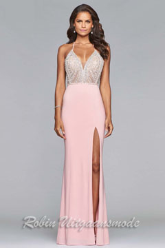 light pink prom dress features a flirty v neckline and breathtaking bodice adorned with sequins