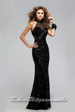 Black prom dress with low back and sweetheart illusion halter neckline