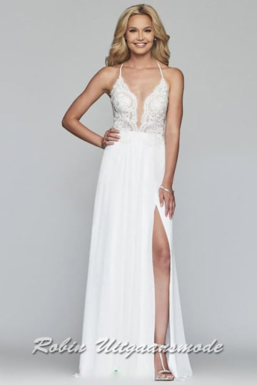 Long prom dress featuring an illusion deep V-neckline, a bodice finished with beaded applications and a high slit in the chiffon skirt | modelnr b-4-12