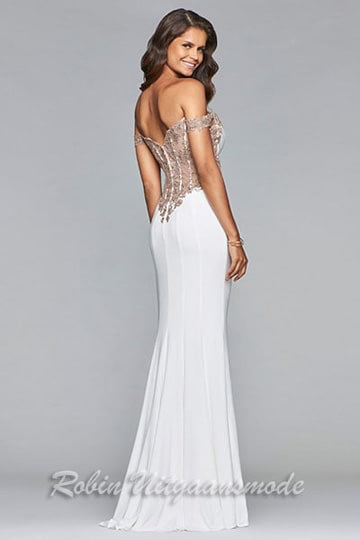 Stunning embroidered lace half low back of the sexy white dress with high slit and the off-shoulder bodice | modelnr b-4-3