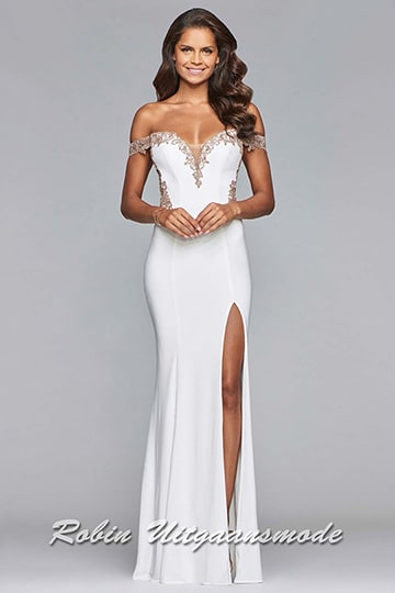 Sexy white dress with high slit, the off-shoulder bodice is beautifully beaded along the heart-shaped neckline and sides | modelnr b-4-3