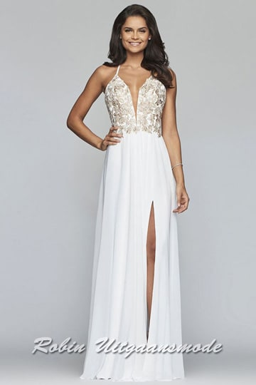 Captivating prom dress with an illusion deep v neckline and thigh high slit. The bodice is beautifully decorated with beads on the front and features a lace-up back | modelnr b-4-6