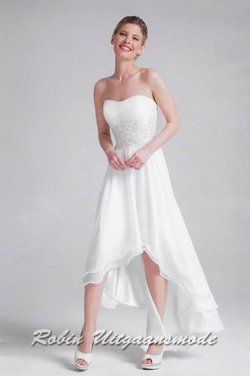 Asymmetric white evening dress features a sweetheart lace bodice and high low chiffon skirt | modelnr g-a4-1