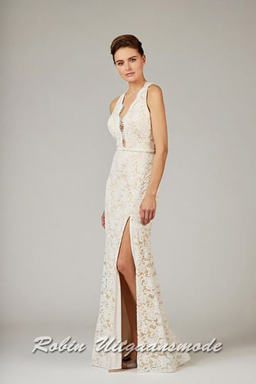 Lace wedding dress with a floral pattern in a fitted design, with illusion deep V-neck and high slit | modelnr b-a4-35