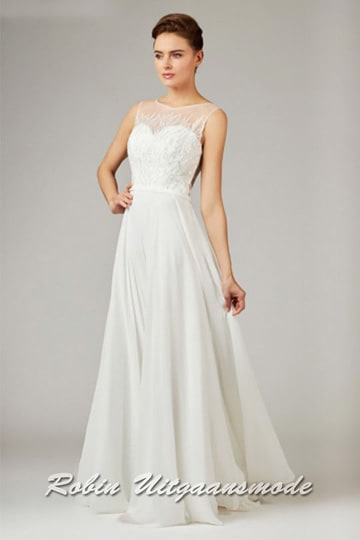 Summery wedding dress with a flary chiffon skirt and heart-shaped bodice, covered with a lace top | modelnr b-a4-41