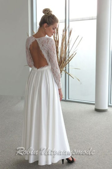 Lovely white prom dress feature fully embroidered lace bodice with long sleeves and lightly flared skirt | modelnr b-n4-8