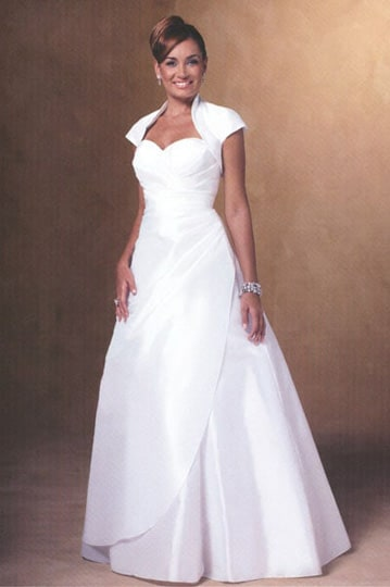 Stylish white ball dress features a strapless bodice, A-line skirt with tule and short bolero jacket | modelnr b-u4-11