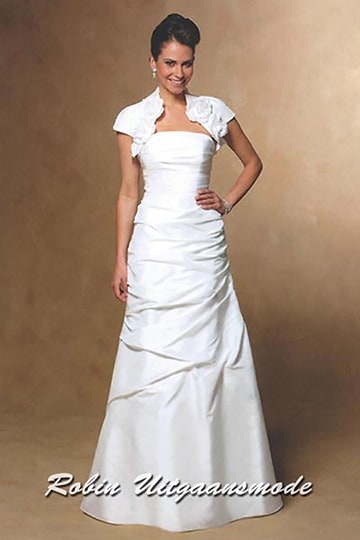 Stylish long wedding dress with soft draped skirt and strapless top, combined with a cap sleeved bolero jacket | modelnr b-u4-17