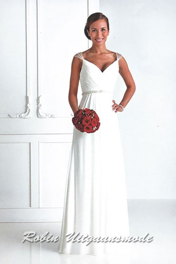 Affordable white dress with V-neck and beautiful beaded shoulder straps | modelnr b-u4-21
