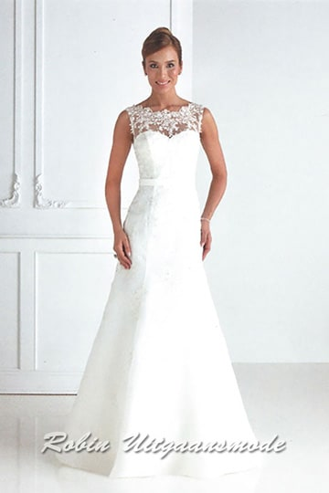 White ballroom dress features a sweetheart bodice with a lace overlay and stylish waistband | modelnr g-u4-28