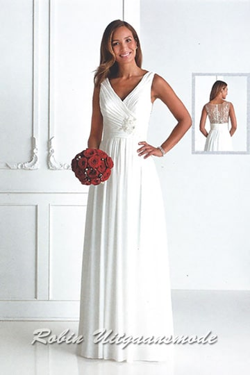 Stylish long wedding gown with a draped V-neck bodice and fully covered lace open back | modelnr b-u4-29