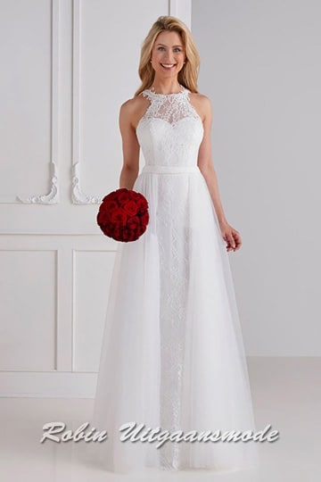 White prom dress with embroidered top layer, the heart shaped bodice is finished with lace jewel neckline | modelnr b-u4-36