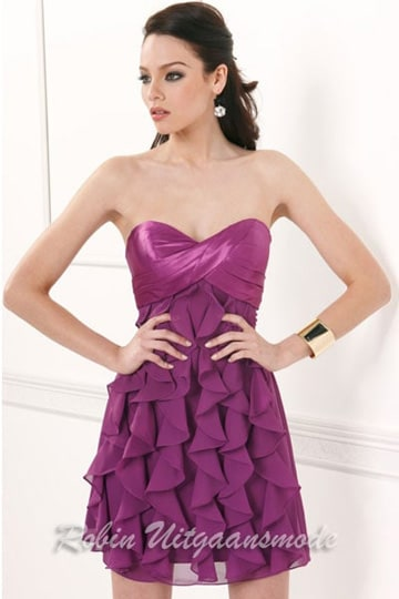 Ruffle dress in purple, with strapless top | modelnr c-1-17