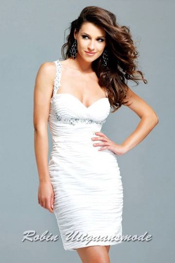 Glamoureus short wedding gown with fully draped dress and beaded shoulder straps | modelnr c-1-2