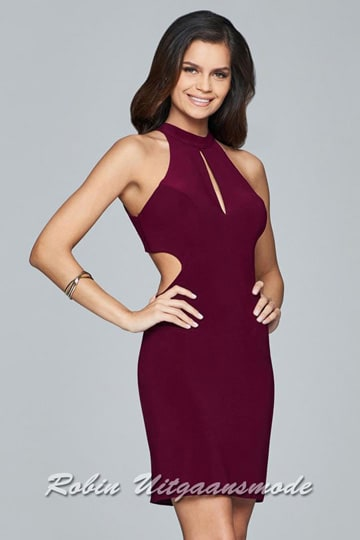 Fabulous short dress features a high halter neckline with an elegant chest cutout. | modelnr c-1-54