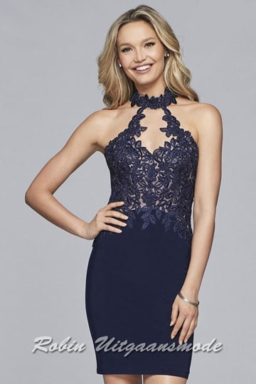 Chic navyblue short prom dress, the embroidered lace bodice ends in an illusion high neckline and a keyhole open back | modelnr c-1-65