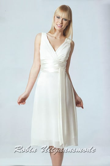 Elegant low priced short wedding dress with wide shoulder straps in various colours | modelnr c-a1-1