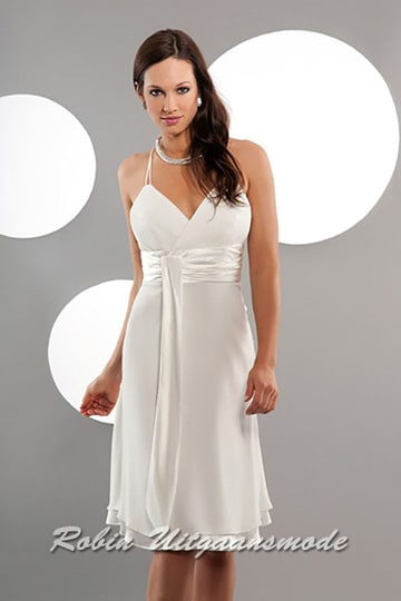 Half-length wedding dress with V-neck, spaghetti straps and waistband | modelnr c-a1-2