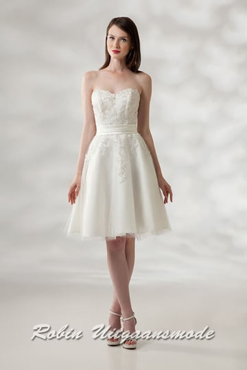 Ivory-coloured short prom dress with heart-shaped strapless top | modelnr c-a1-4