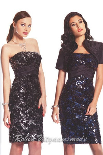 Straight strapless dress of black glitter fabric, with a short skirt above the knee | modelnr c-a1-54