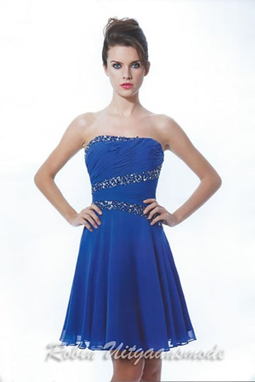 Strapless short cocktail dress with beaded bands over the bodice, only black available| modelnr c-a1-62