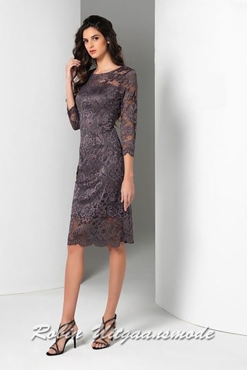 Short lace evening dress with boat neck, half-length transparent sleeves and a skirt till the knee. | modelnr c-a1-64