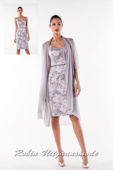 Stylish short evening dress below the knee, in light grey with pink flower pattern and a transparent jacket with half-long sleeves | modelnr c-a1-70