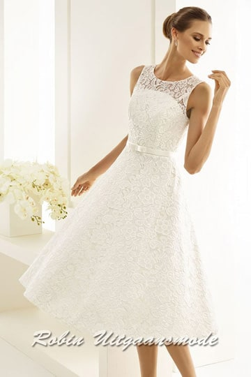 Short wedding dress with embroidered lace bodice and illusion high neck | modelnr c-b1-1
