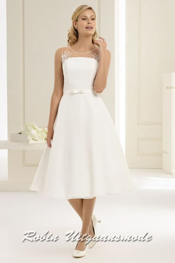 Short bridal dress with flared skirt and illusion strapless high neck. | modelnr c-b1-3
