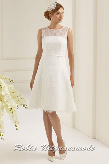 Ivory white short dress with lace and straight strapless bodice | modelnr c-b1-5