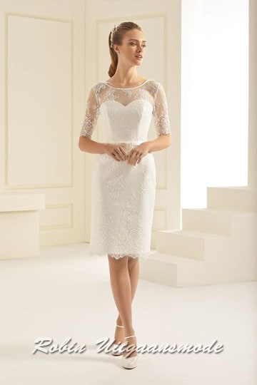 Straight short wedding dress with heart-shaped bust line, the lace top layer provides an elegant look and high-necked neckline | modelnr c-b1-7