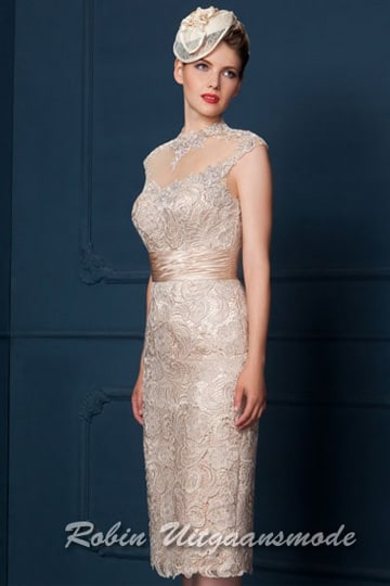 Champagne coloured short evening dresses fully embroidered with an illusion high neck line. | modelnr c-g1-1