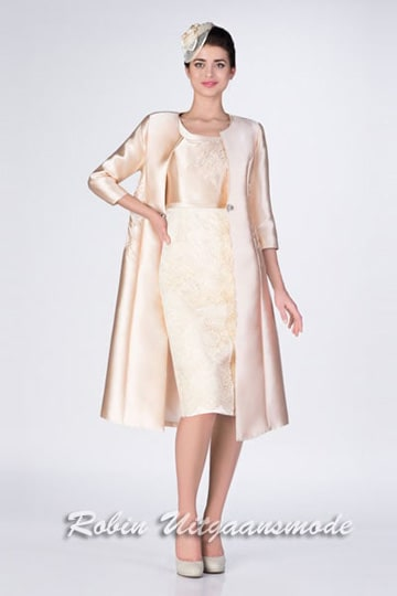 Stylish two pieces dress up to size 46, in champagne with long coat | modelnr c-g1-2