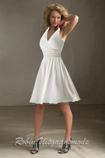 Halter neckline wedding dress feature a flowy short skirt and soft draped bodice | modelnr c-m1-3