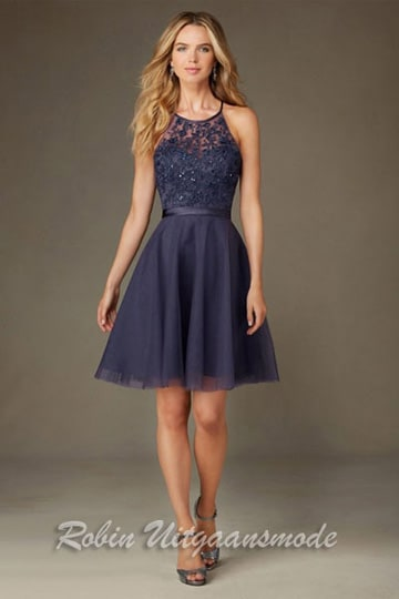 Blue short dress features a tule skirt, embroidery and beading bodice with satin waistband | modelnr c-mo1-13