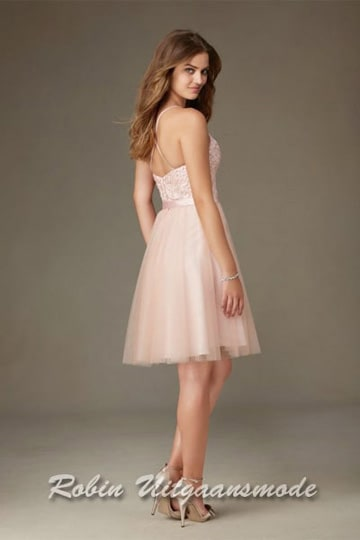 Pink cocktail dress with half open back and halter neckline | modelnr c-mo1-13