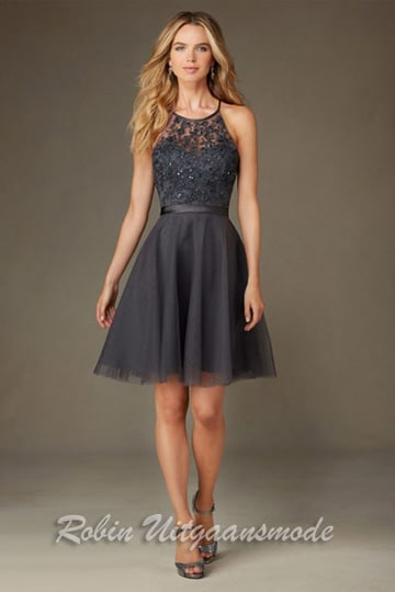 Black short dress features a tule skirt, embroidery and beading bodice with satin waistband | modelnr c-mo1-13