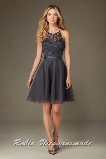 Short dress features a tule skirt, embroidery and beading bodice with satin waistband | modelnr c-mo1-13