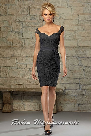 Knee length lace dress in charcoal gray, off shoulder neck line and small sleeves | modelnr c-mo1-6