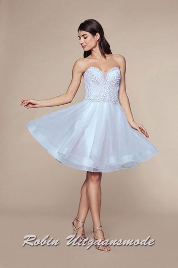Strapless cocktail dress features a heart-shaped neckline, beaded with sequins and a short tulle skirt | modelnr c-n1-79