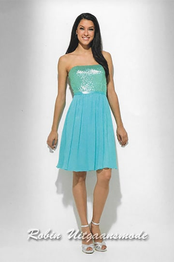 Aqua blue short cocktail dress, the top is completely covered with sequin fabric which has a matte sheen | modelnr c-u1-100