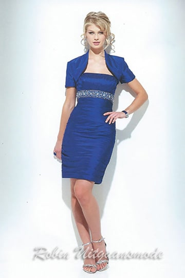 Stylish short evening dress in blue with short sleeve bolero jacket | modelnr c-u1-26