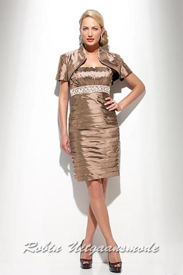 Stylish short evening dress in golden brown with short bolero jacket in different colours | modelnr c-u1-26